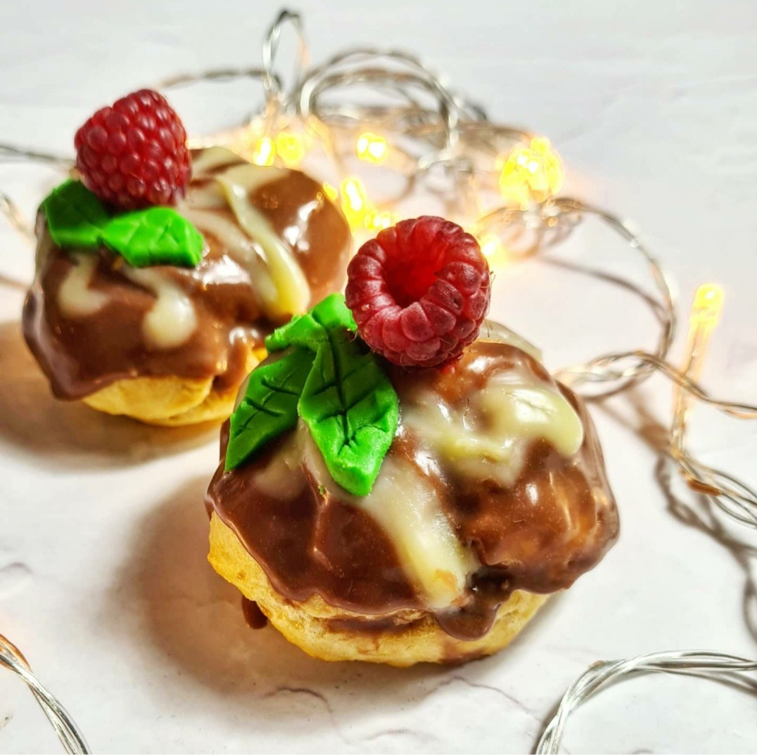 Chocolate Profiteroles Christmas Pudding