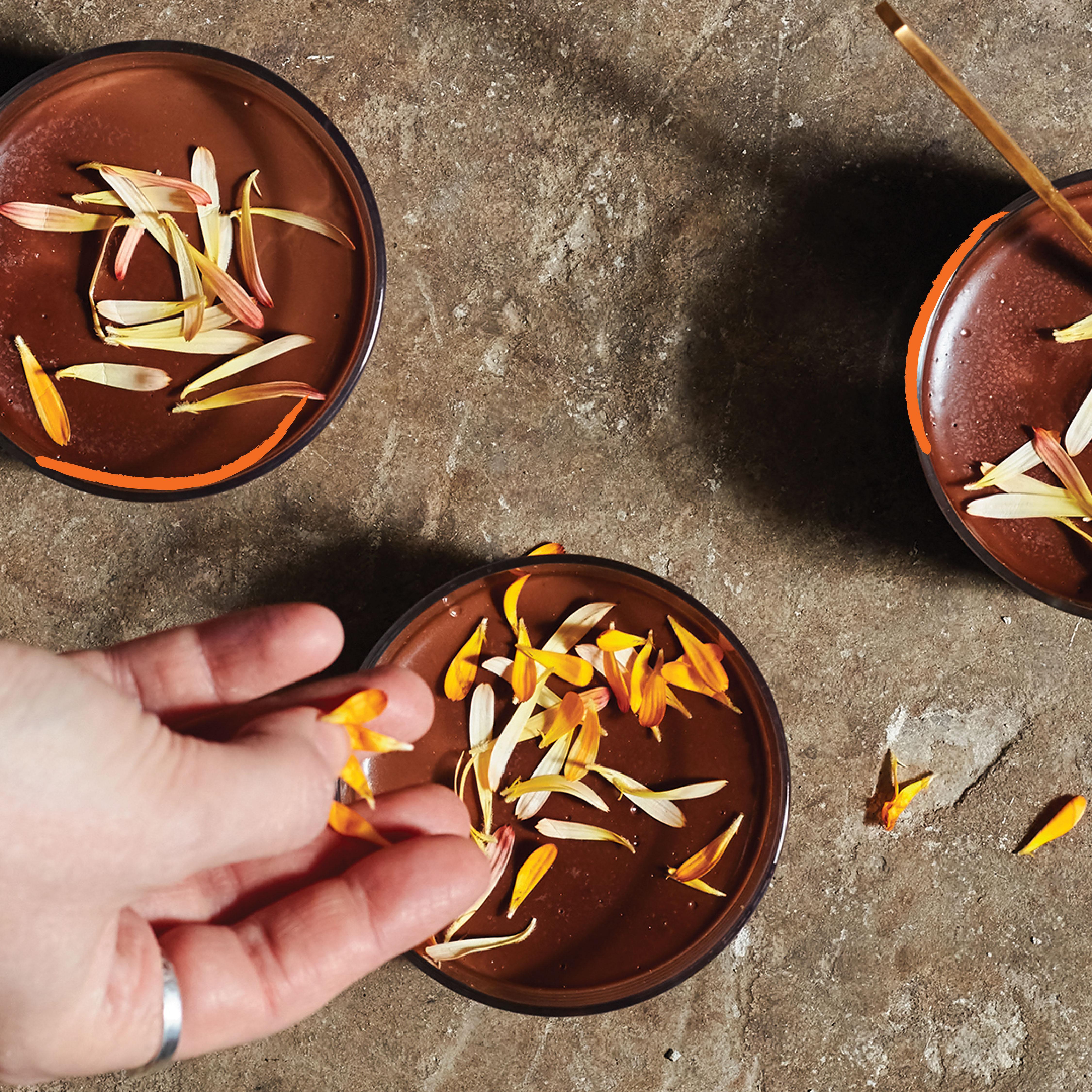 Orange and geranium chocolate pots recipe