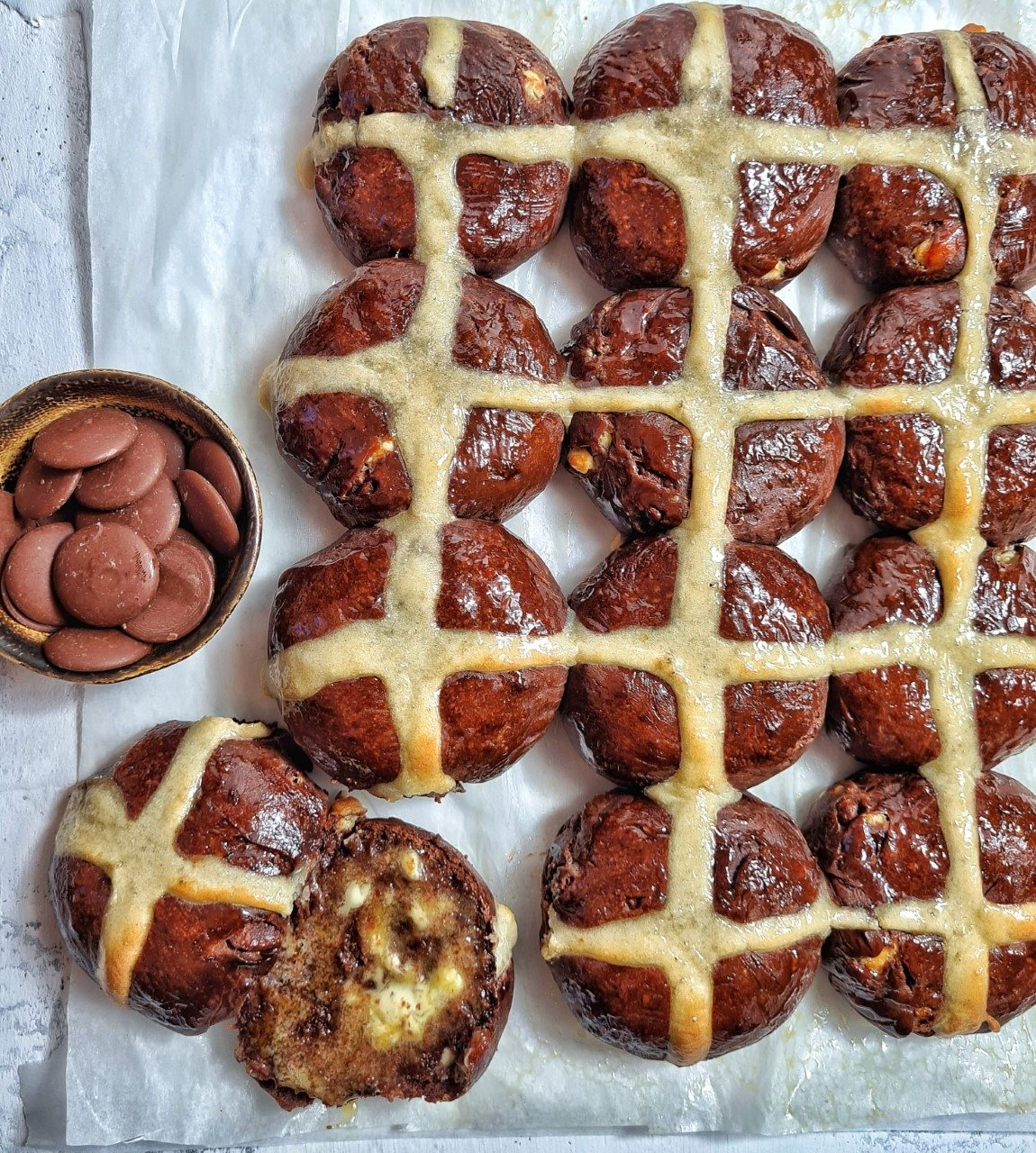 Triple Chocolate Hot Cross Buns with an Orange Marmalade Glaze