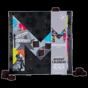 Dark chocolate advent calendar box, with a grey sleeve, absolute black chocolates