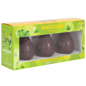 set of three milk chocolate alternative like no udder Easter chicks in a green box