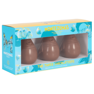 a pack of three milk chocolate chicklateer easter chicks in blue box