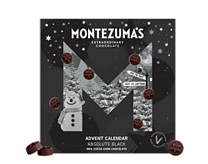 Absolute Black Advent Calendar - black box with grey snowman and stars, round shaped chocolates in 100% cocoa
