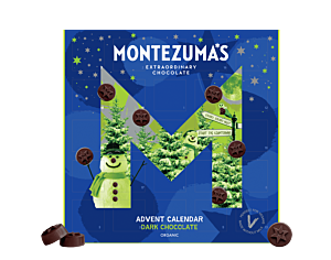 organic dark chocolate advent calendar. Blue box with snowmen printed on the front. Round chocolate shapes.