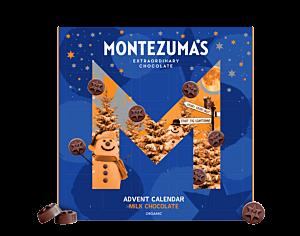 Organic milk chocolate advent calendar. Blue packaging with orange snowman featured on logo. Round chocolates inside each advent calendar window