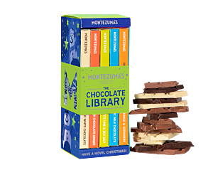 Christmas chocolate bar library with 5 bars inside. In festive blue and green packaging