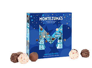 Christmas truffle box in festive blue packaging with snowmen and stars