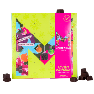 Green advent calendar with pink sleeve, with dark chocolates