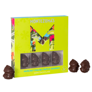 Green box with dark chocolate snowmen