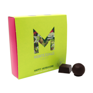 vegan truffle box in green and pink packaging