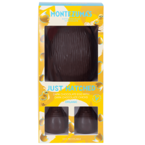 Just hatched - giant dark chocolate egg with two dark chocolate chicks. Organic and vegan in a yellow box