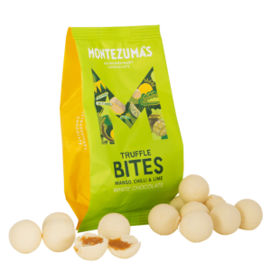 white chocolate, mango lime & chilli truffle bites in a lime green packet