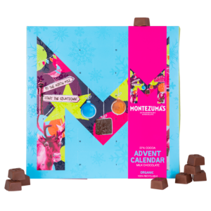 blue advent calendar box with a pink sleeve with milk chocolates