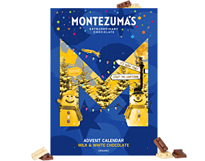 Kids milk and white organic chocolate advent calendar. In blue box with yellow snowman.