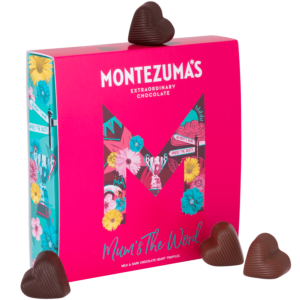 Mother's Day heart shaped chocolate truffles in a pink and blue box