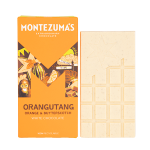orangutang white chocolate bar with orange & butterscotch