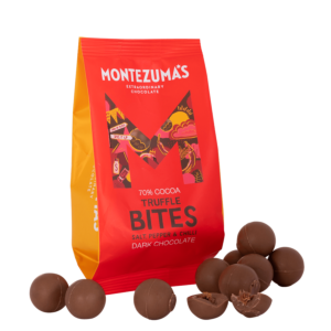 dark chocolate salt pepper and chilli truffle bites in a red packet
