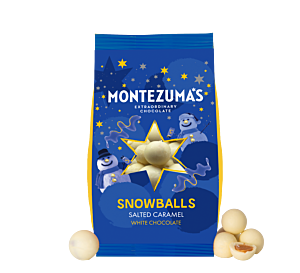 white chocolate and salted caramel christmas snowballs. In festive blue and yellow packaging
