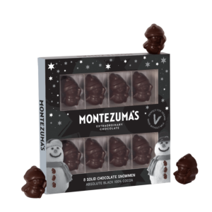 8 100% cocoa absolute black snowmen in a black box with grey snowmen and stars