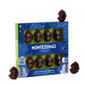 8 dark chocolate with peppermint snowmen inside a blue box with grey snowmen and stars