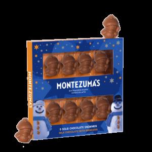 8 milk chocolate with mandarin snowmen in a blue box with grey snowan and orange and grey stars.