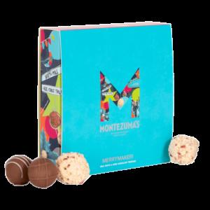 festive blue box of chocolate truffles