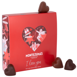 heart shaped chocolate truffles in a red box for valentine's day