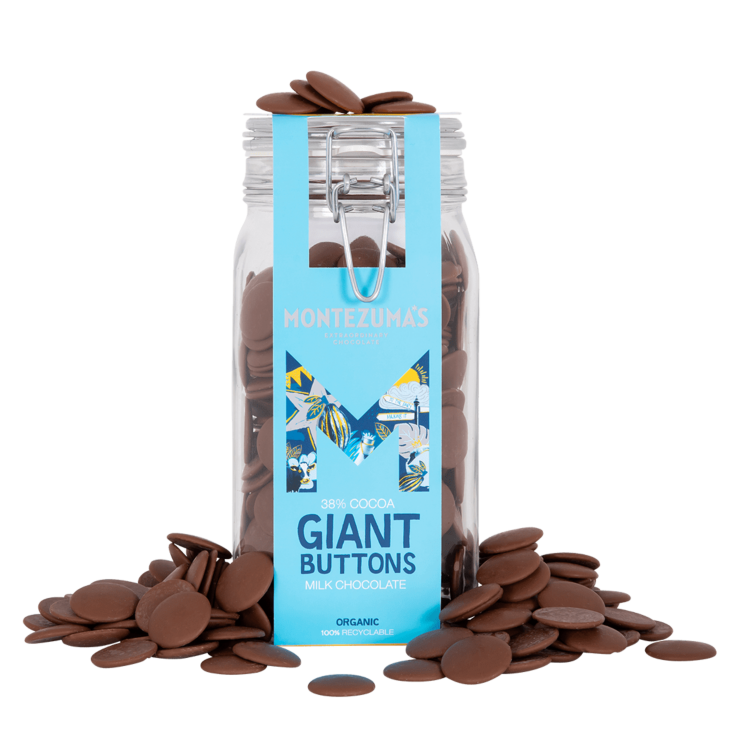 milk chocolate button jar with a blue sleeve