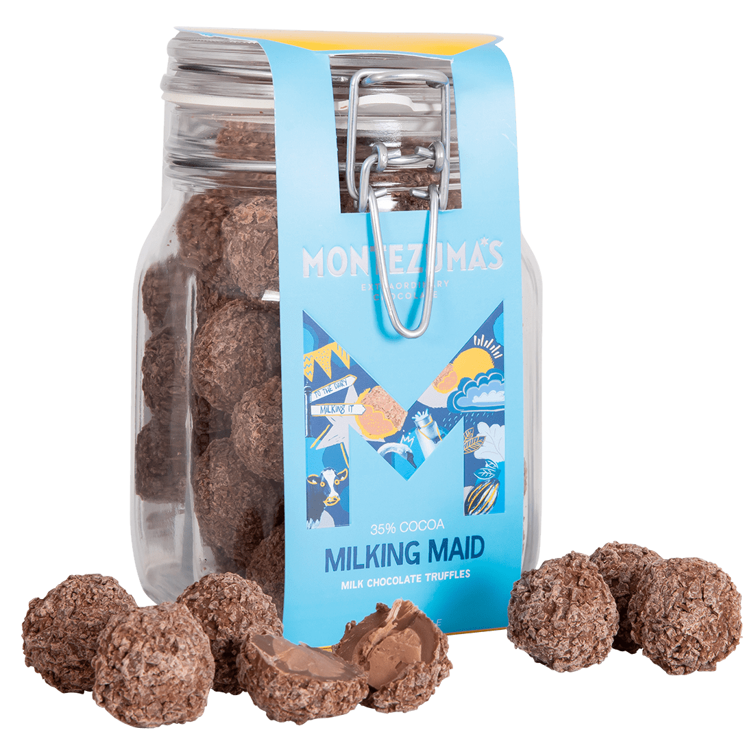 smooth milk chocolate truffles in a recyclable jar